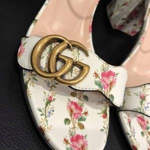bc1b36c1e Gucci Shoes | Marmont Gold Floral Ivory White Ankle Strap | Poshmark